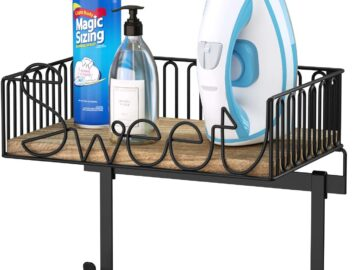 Iron & Ironing Board Holder with Wooden Base