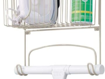 mDesign Metal Wall Mount Ironing Board Holder with Large Storage Basket