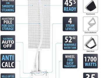 features of rowenta is8440 professional full size garment steamer
