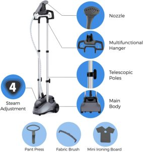 features of the Pursteam full size garment steamer